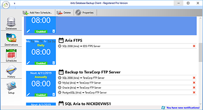 ibitz Database Backup Software schedule window screenshot
